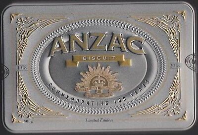 2018 Limited Edition Rising Sun Commemorating 100 Years Anzac Biscuit Tin