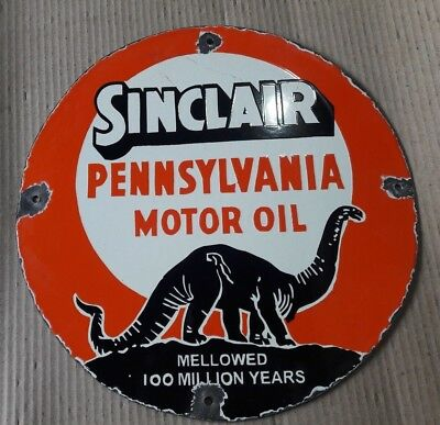 """Porcelain SINCLAIR PENNSLVANIA Sign SIZE 12"""" INCHES ROUND"""