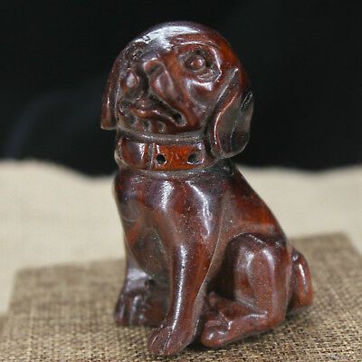 China Red wood Yellow pear wood handmade lucky Dog Necklace Sculpture