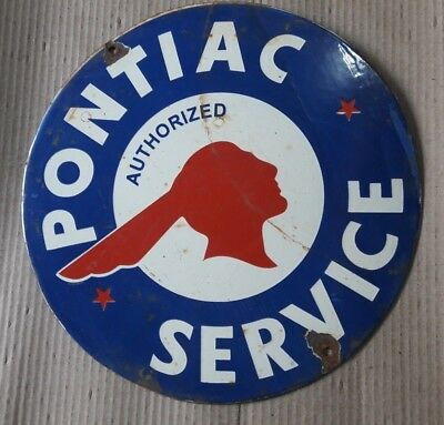 """Porcelain PONTIAC SERVICE Sign SIZE 12"""" INCHES ROUND"""