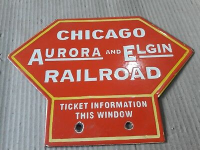 """Porcelain CHICAGO RAILROAD  Sign SIZE 10.5"""" x 8"""" INCHES"""