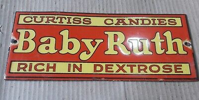 """BABY RUTH Enamel Sign SIZE 10 X 4"""" INCHES"""