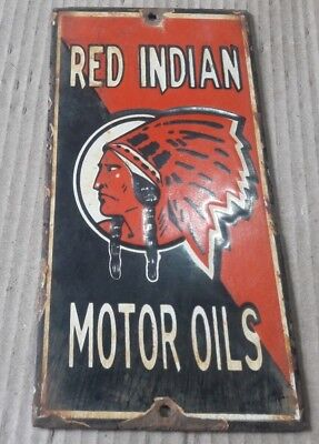 """Porcelain RED INDIA Sign SIZE 4"""" X 8"""" INCHES"""