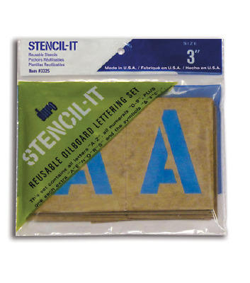 """3"""" POSTER STENCIL SET Letters Numbers Symbols STENCIL-IT Oil Board Made in USA"""