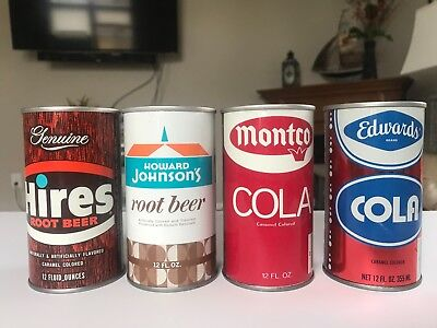 4 Straight Steel Soda Cans Hires Montco Edwards Howard Johnson Ex Condition!