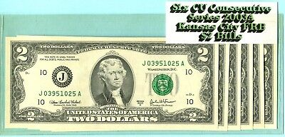 Six Consecutive Serial Number $2 Bills Series 2003A From the Kansas City FRB!