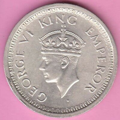 British India-1945-Bombay Mint-One Rupee-King George 6-Rarest Silver Coin-8