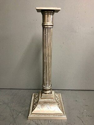 Antique Silver Plated Corinthian Column Candlestick