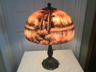 Reverse Painted Lamp With Forest/trees & Waterfall Scene Table Lamp
