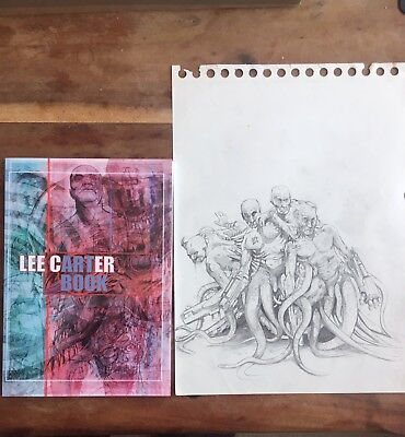 original pencil drawing and 40 page art book signed by Lee Carter