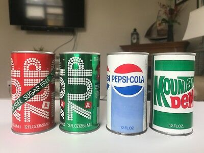 4 Straight Steel Soda Cans Pepsi 7 Up Mt. Dew Ex Condition!
