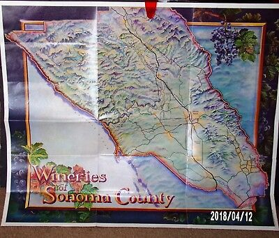 1982 Lithograph -Map- Print- Poster-  Wineries Of Sonoma-Napa County California