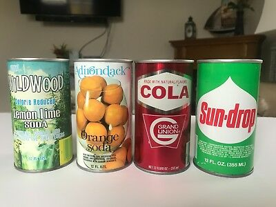4 Straight Steel Soda Cans Sun Drop Grand Union Wildwood  Ex Condition!