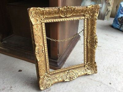 Antique Heavily Ornate Gilded Gold Gilt Gesso Picture Painting Frame Decorative