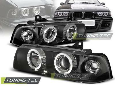 Coppia Fari Anteriori Bmw E36 12.90-08.99 Angel Eyes Black*342