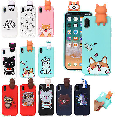 3D Cute Cartoon Silicone Soft TPU Rubber Case Cover For iPhone XS Max XR X 8 7 6