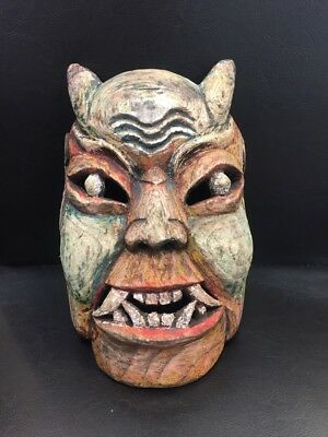Old Vintage Naively Carved African Wooden Tribal Mask