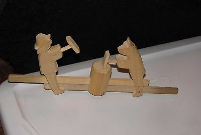 Movable Folk Art Hand Carved Pull Toy Man Wood Chopper Bears Stump Anvil Mallets