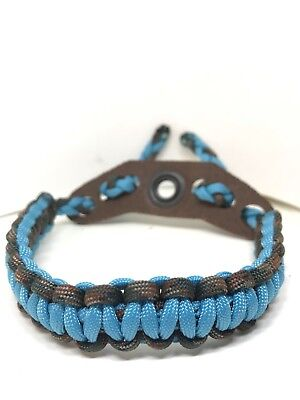 bow wrist sling Camo And Neon Turquoise   With Brown Yoke
