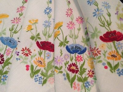 VINTAGE HAND EMBROIDERED LINEN TABLECLOTH POPPIES and MEADOW FLOWERS