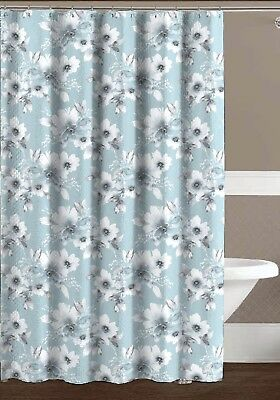 Aqua Blue Grey White Embossed Fabric Shower Curtain Watercolor Floral Design