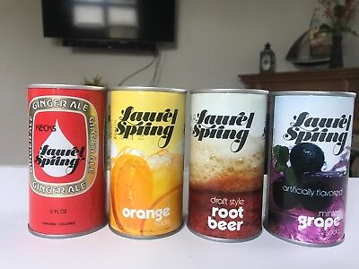 4 Straight Steel Soda Cans Laurel Spring Assorted Flavors Ex Condition!