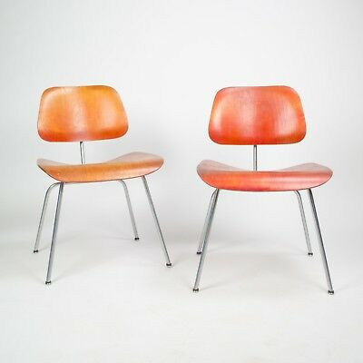 Eames Herman Miller 1951 DCM Dining Chairs Red Aniline Dye 2x Evans Available