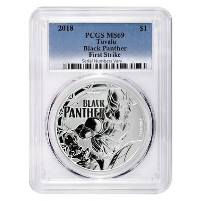 2018 1 oz Tuvalu Black Panther Marvel Series Silver PCGS MS 69 FS