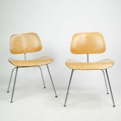 Pair Eames Herman Miller 1951 DCM Dining Chairs Maple Natural (Price for pair)