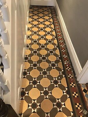 Reclaimed Victorian possibly Minton ?? Mosaic Geometric Floor Tiles approx 6sq m