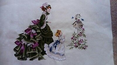 completed cross stitch lavender & lace - The Quiltmaker