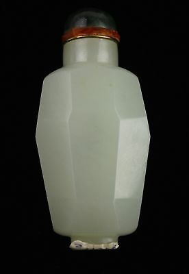 Qing Dynasty Nephrite White Jade Faceted Snuff Bottle