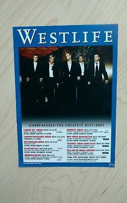 Westlife Tour Flyer The Greatest Hits 2003