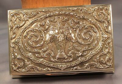 SUPERB Thai SIAM STERLING Antique ELEPHANT Solid SILVER Cigarette Cigar Box Case