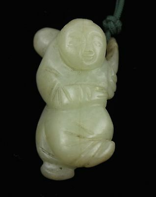 Qing Dynasty Nephrite White Jade Wise Man Toggle