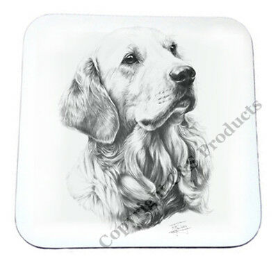 Mike Sibley Golden Retriever Wooden Drinks Coaster 9x9 cm - Ideal Dog Lover Gift
