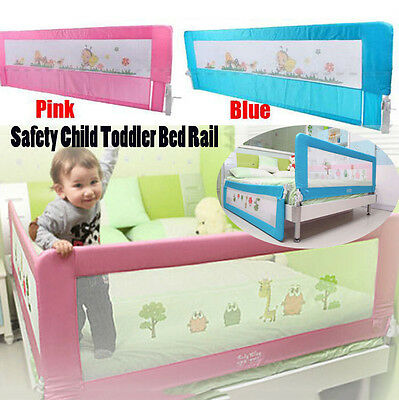 Safety Child Toddler Bed Rail Baby Bedrail Fold Cot Guard Protection Pink&Blue