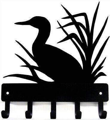 "LOON #06 Wall Art Metal Key Rack Holder Hanger 5 Hooks - Made USA- 6"" wide SM"