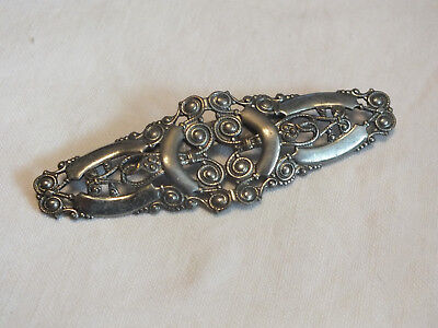 "Beautiful Brooch Pin Silver Tone Filigree Bar Texture 3 x 1"" NICE"