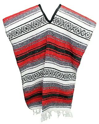 Traditional Mexican Poncho - RED - ONE SIZE FITS ALL Blanket Serape Gaban E7
