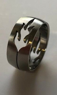 Men Women 316L Stainless Steel Fire Design 8mm Ring Band Size 6 NEW SS18