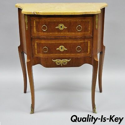 French Louis XV Style Inlaid Marble Top Bombe Commode End Table Nightstand