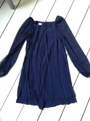 Topshop Maternity Navy Pleat Front Linned Chiffon Formal Evening Dress Size 8