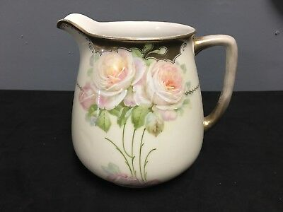 Hand Painted Bavaria Porcelain Pitcher With Roses