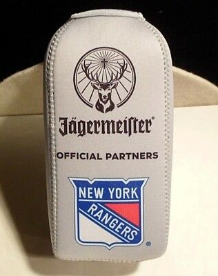 Jagermeister New York Rangers Bottle Koozie With Zipper Gray Red White Blue Stag