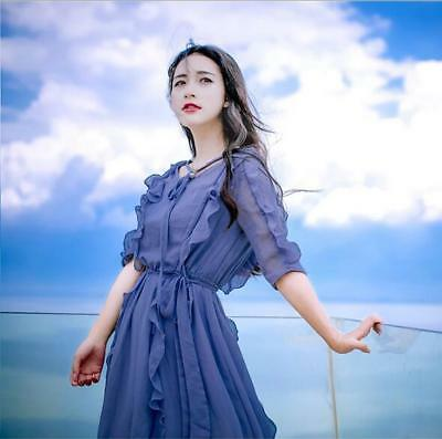 Women Summer Fashion Pretty Flouncing Chiffon Beach Holiday Maxi Long Dress 304