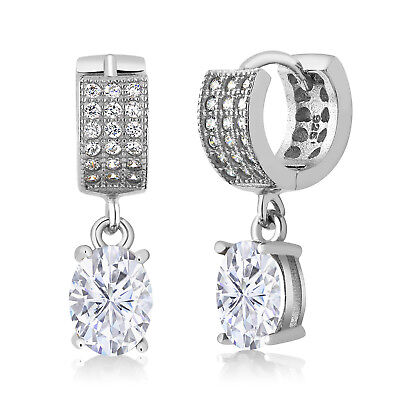 925 Sterling Silver Earrings Forever Classic Oval Created Moissanite 3.00ct DEW