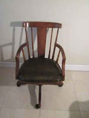 Vintage Desk Office Bankers Chair Solid   Wood leather seat Shipping not Include