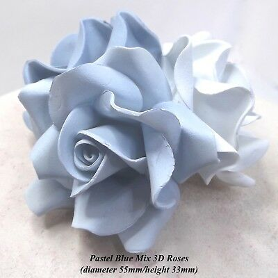 3,6 or12 Large Pastel Blue Mix 3D Sugar Roses blue cake decorations 55mmNONWIRED