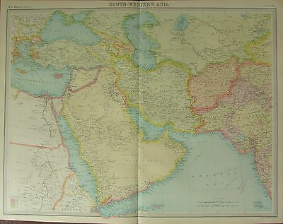1922 Large Antique Map ~ South-Western Asia ~ Arabia Syria Turkey Persia